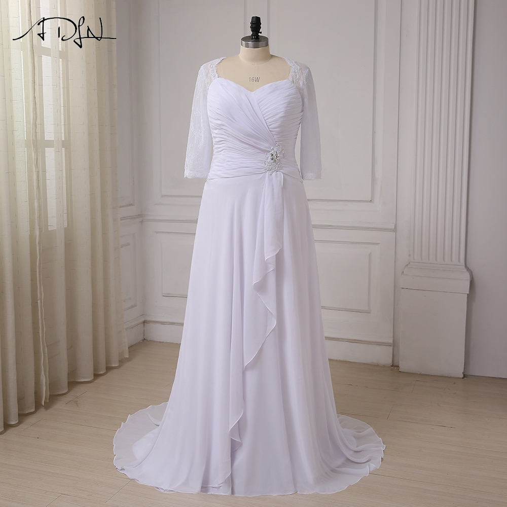 ADLN 2019 Plus Storlek Chiffon Bröllopsklänningar Halva Ärmar V-Nacka Strand Brudklänningar Lång Vestidos De Noiva Snörning Uppe Tillbaka