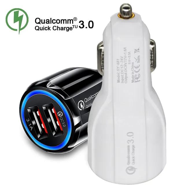車の Usb 充電器急速充電 3.0 2.0 携帯電話の充電器 2 ポート USB 高速 Iphone サムスン Xiaomi