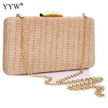 YYW Pink Straw Weave Woven Clutch Bag For Women Sac Main Femme Khaki Summer Beach Shoulder Evening Party Wedding Bags