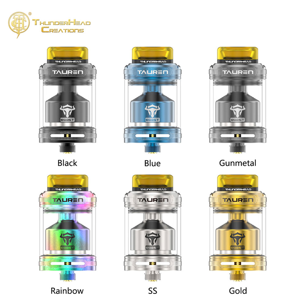 Original THC Tauren RTA 2ml / 4.5ml med 26 Mikro Heksagonal Honey Comb Luft Huller og Single Coil / Dual Coils Tank VS Dead Rabbit RTA