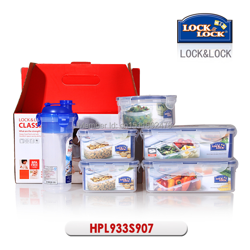 LOCKu0026LOCK 5 Piece Plastic Vacuum Waterproof Food Storage Containers And 1  Water Bottle Box Gift Set HPL933S907 Free Shipping In Storage Boxes U0026 Bins  From ...