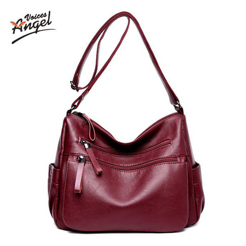 Angel voices Brand Genuine Leather Women Messenger Bag Large Sheepskin Leather Shoulder Bag Women Crossbody Bag daily Clutch