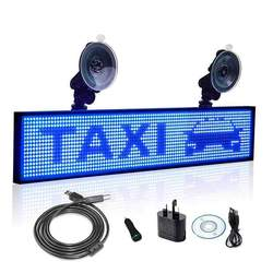 12V 50cm P5 blanco SMD coche camión Taxi ventana trasera desplazamiento tablero de pantalla LED por inalámbrico rápido programable soporte cargador de coche