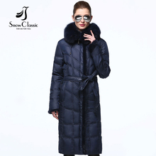 Down coat winter season ladies genuine fox collar white duck down parka mink fur coat winter season coat ladies warm Snow Classic high quality 2017