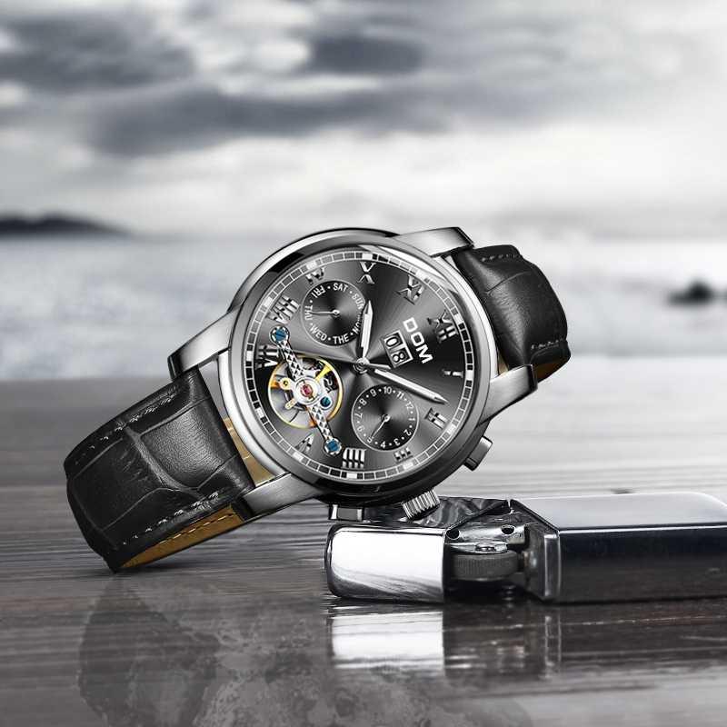 DOM スケルトントゥールビヨン機械式腕時計メンズ自動古典的な黒革機械式腕時計リロイ Hombre M-75L-1M