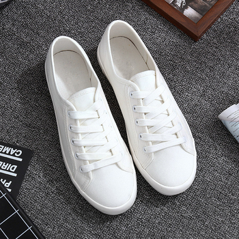WENKOUBAN Classic Women Flats Solid White Sneakers DIY Casual Canvas Shoes Female Flat Trainers Fashion zapatillas mujer casual Туалет