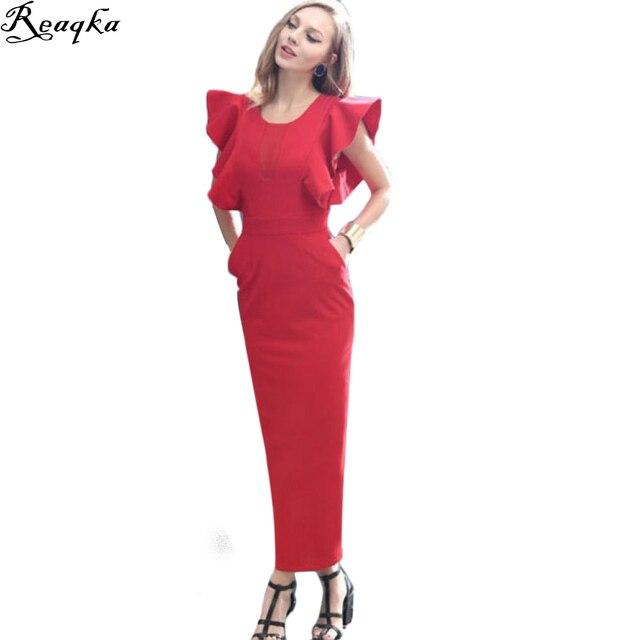 bb3d3f781f7d 2018 New Summer Red Split Pencil Maxi Dress Women Party Flare Sleeve Legant  Pocket Fashion Work