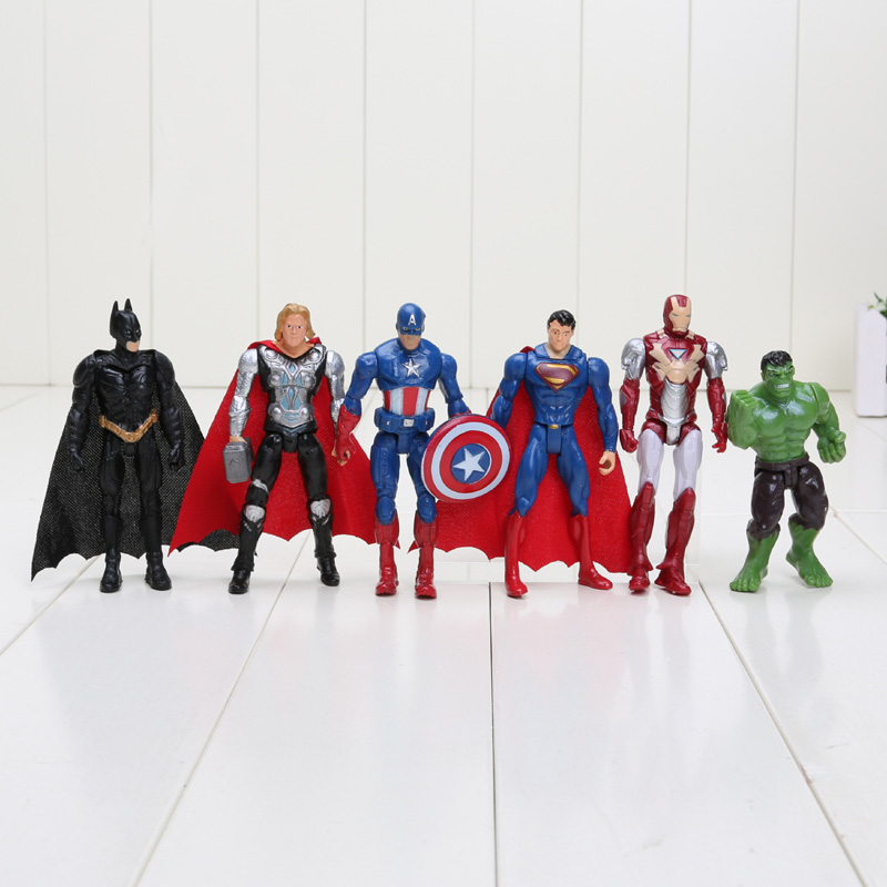 Hasbro Marvel 6 pz/set 8-10 cm Super Hero The Avengers action figure Giocattoli Spiderman Capitan America Hulk batman thor superman giocattolo