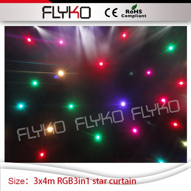 Indoor Soft Fireproof Wedding Stage Led Star Curtain Backdrop Decoration 10ft High14ft Width