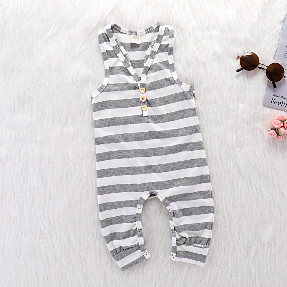 Summer Sleeveless Toddler Girl   Rompers   Grey Stripes Newborn Boys Jumpsuits Clothing Comfortable Cotton Infant Kids Overalls 0-2Y