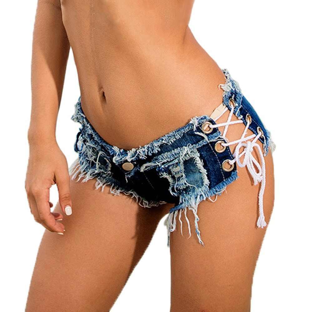c6b9943bf Summer Women s Sexy Denim Shorts Women Low Waist Skinny Cross Straps Short  Woman Mini Jeans Shorts