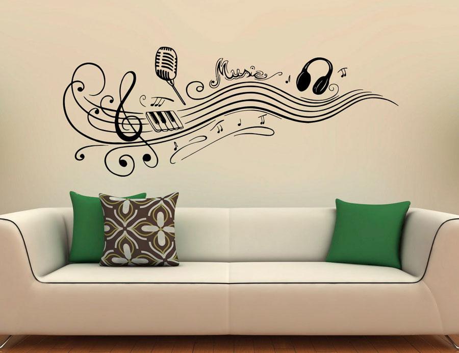 Music Vinyl Stickers Music Notes Home Interior Art Design Murals Bedroom Wall Decor For Living Room
