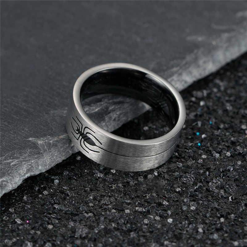 เครื่องประดับสแตนเลสแหวนผู้ชายภายใน Hollow Spider ผ้าไหมแฟชั่นสีแหวนสำหรับของขวัญผู้หญิง Punk เครื่องประดับ Anillos Mujer