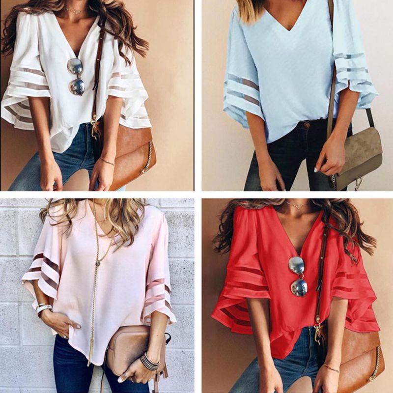 HTB13fJ9KkKWBuNjy1zjq6AOypXax - Summer streetwear style women cute chiffon blouses casual flare sleeve shirts white loose tops patchwork mesh shirts