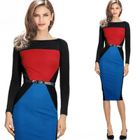 Full Long Sleeve Women Geometric Contrast Colors Pencil Midi Dress Office Ladies Tailored Working Dresses With
