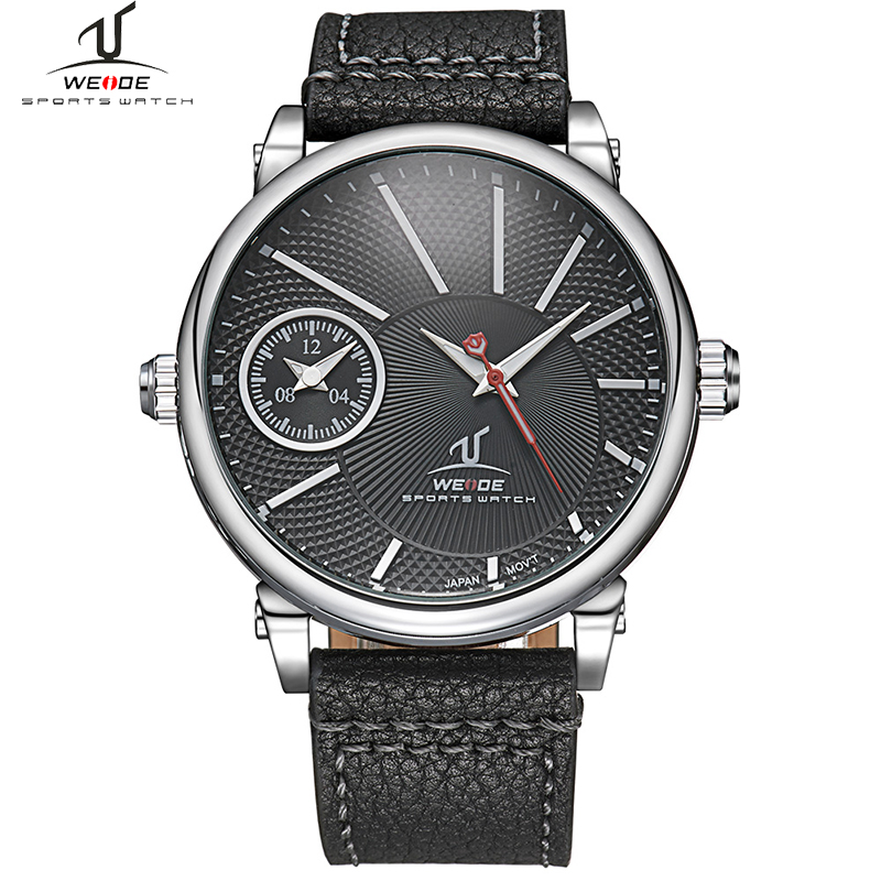 WEIDE Brand Big dial Men Quartz Sports Watch Waterproof Leather Band Multiple Time Zone Male Military Clock Relogio Masculino weide casual genuin brand watch men sport back light quartz digital alarm silicone waterproof wristwatch multiple time zone