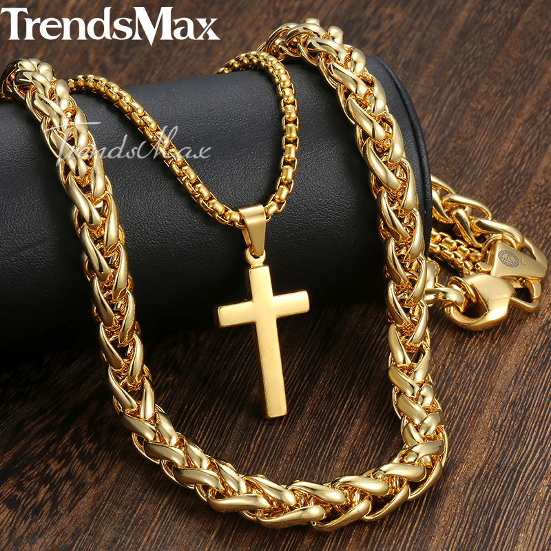 New Men's Hip Hop Necklace Gold Stainless Steel Wheat Box Link Chain Cross Pendant Necklace for Men Jewelry 10mm 24inch DN06 new men s hip hop necklace gold stainless steel curb cuban link chain cross pendant necklace for men jewelry 11mm 24inch dn05
