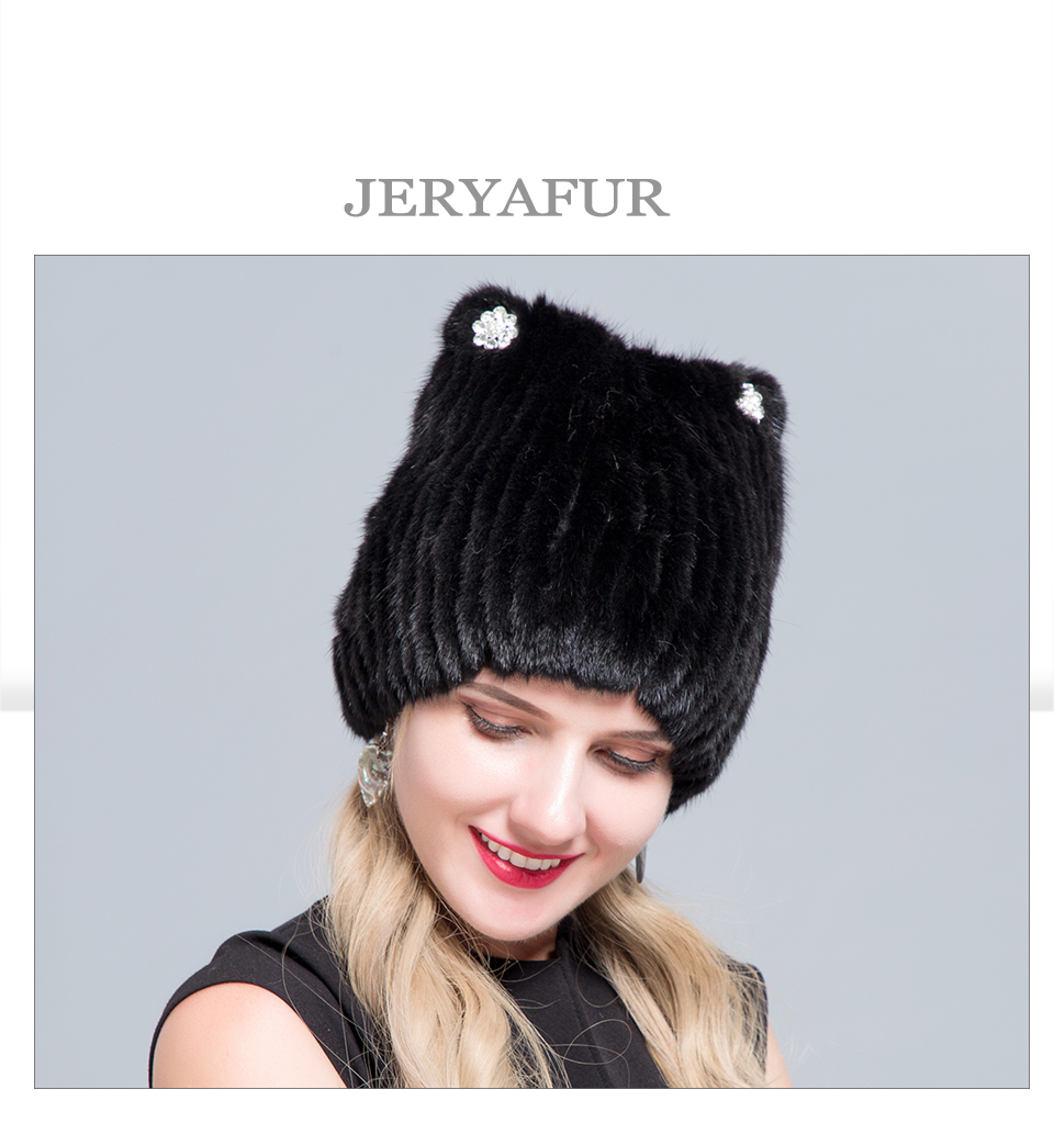 Middle aged women in the winter: mink fur women's knitted sweater hat new fashion European and American cat style ski caps 13