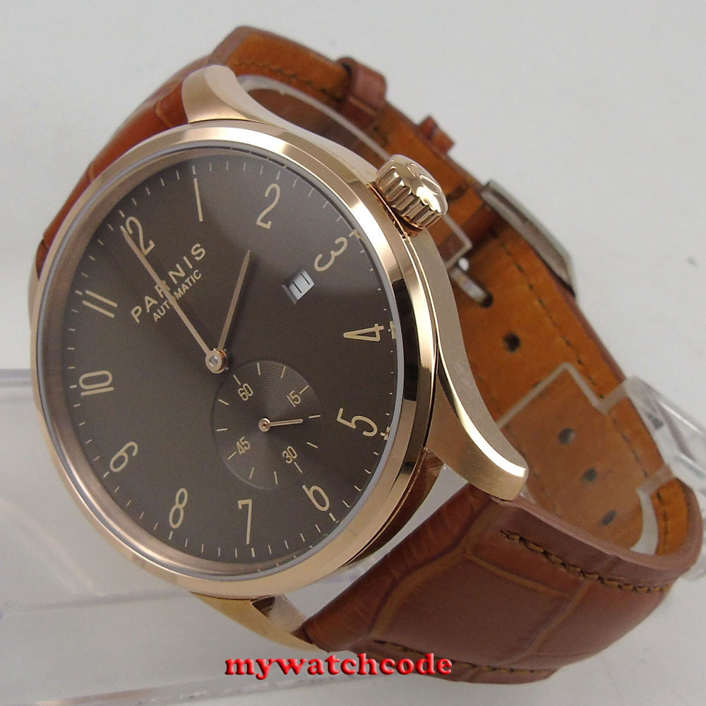42mm parnis coffee dial rose golden case date window automatic mens watch P957B цена и фото