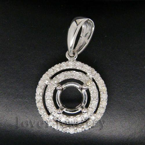 Redondo 5mm sólido 14 KT oro blanco 0.28Ct diamante Semi montaje colgante-in Colgantes from Joyería y accesorios    1