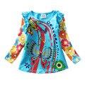 T-shirts para meninas de varejo de manga longa roupa infantil princesa crianças roupas crianças desgaste dos miúdos bebê dos desenhos animados tshirt nova l3916 mix