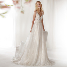 Loverxu V-Neck Wedding Dress Cap Sleeve Bride Dress