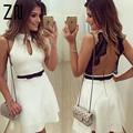 Hot Fashion Women Floral Lace Short Sleeveness Backless Evening Party Casual Mini Dress