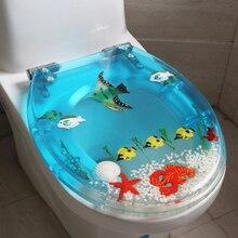 Уникальный высокое качество смолы красивый морской мир дизайн сиденье на унитаз крышка набор Универсальный Туалет крышка с крышкой много цветов на выбор