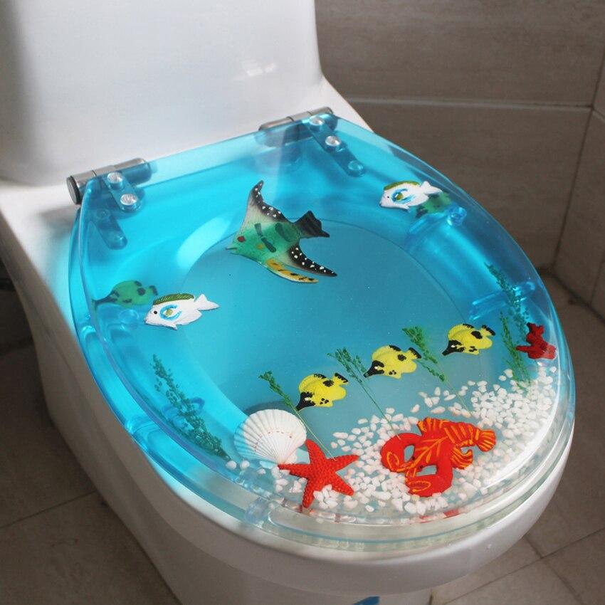 Unique haute qualité résine beau monde de la mer Design couverture de siège de toilette ensemble couverture de toilette universelle avec couvercle beaucoup de couleur pour le choix