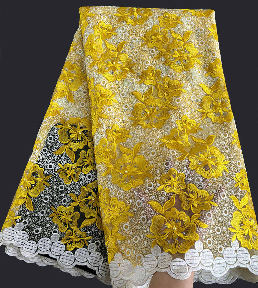 Amarillo plata allover bordado genuino francés encaje tul africano tela de malla nigeriana Dubai tradicional vestido 5 yardas/pc