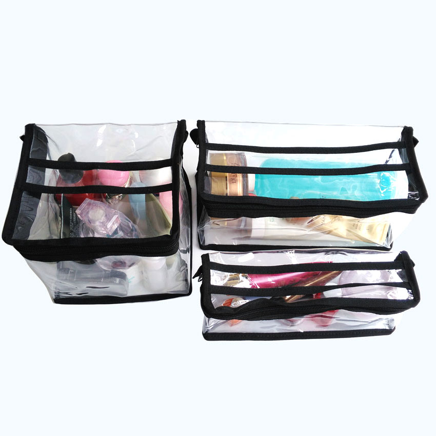 Us 9 Free Shipping Professional Whole Transpa Plastic Cosmetic Makeup Bag With Zipper And Handle Clear Waterproof Travel In