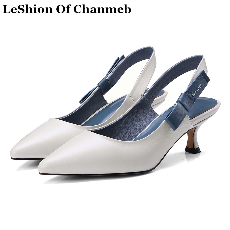 Sweet Bowknot Ladies Pointed Toe Thin High Heels Sling Back Pumps Woman s Real Leather Spring