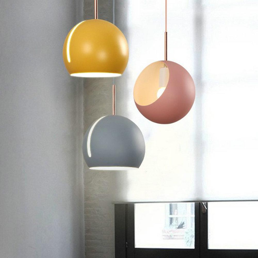 220v 110v Yellow Blue Green Grey White Black Modern Hanging Pendant Light Lamp for Indoor Home Dining Room Bedroom Kitchen