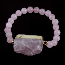 1Pcs Natural Druzy Rose Quartz Crystal Bracelet With Round Bead Bracelets