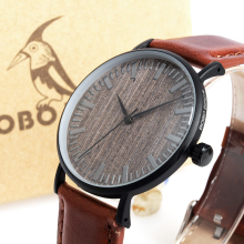 BOBO BIRD WE25 Mens Watch with Metal Case Wooden Dial Face Soft Leather Band Quartz Watches for Men Women
