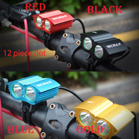 Walkefire 12piece/lot bike light 2x XM L U2 LED Cycling Bike Bicycle Light Head front Lights +18650 battery pack+charger