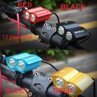 Walkefire 12piece/lot bike light 2x XM L U2 LED Cycling Bike Bicycle Light Head front Lights +18650 battery pack+charger