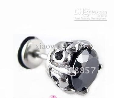 8mm black zircon Stainless steel rose punk stud Earrings engraved designs 10 pair/lot Mix order