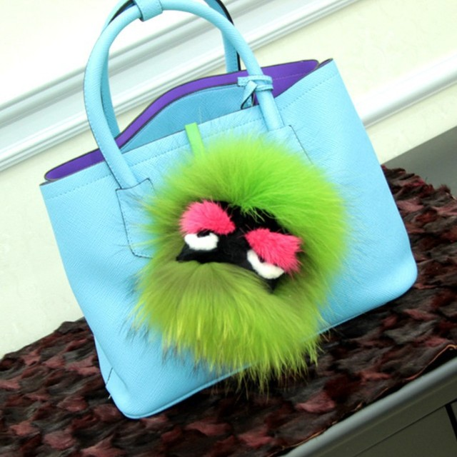 Bag Bugs ! 2015 Newest High Quality 100% Fox Fur Ball Bag Charm Creative Little Monsters Key Chain Ring Car Keychain Accessories