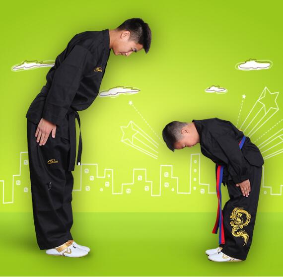 Kimono Karate Black Taekwondo Embroidery Child Taekwondo Kung Fu Outfit