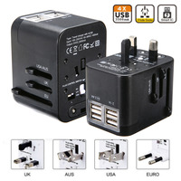 1pc Universal International Plug Adapter 4 USB Port Portable World Travel Adapter Charger All In One
