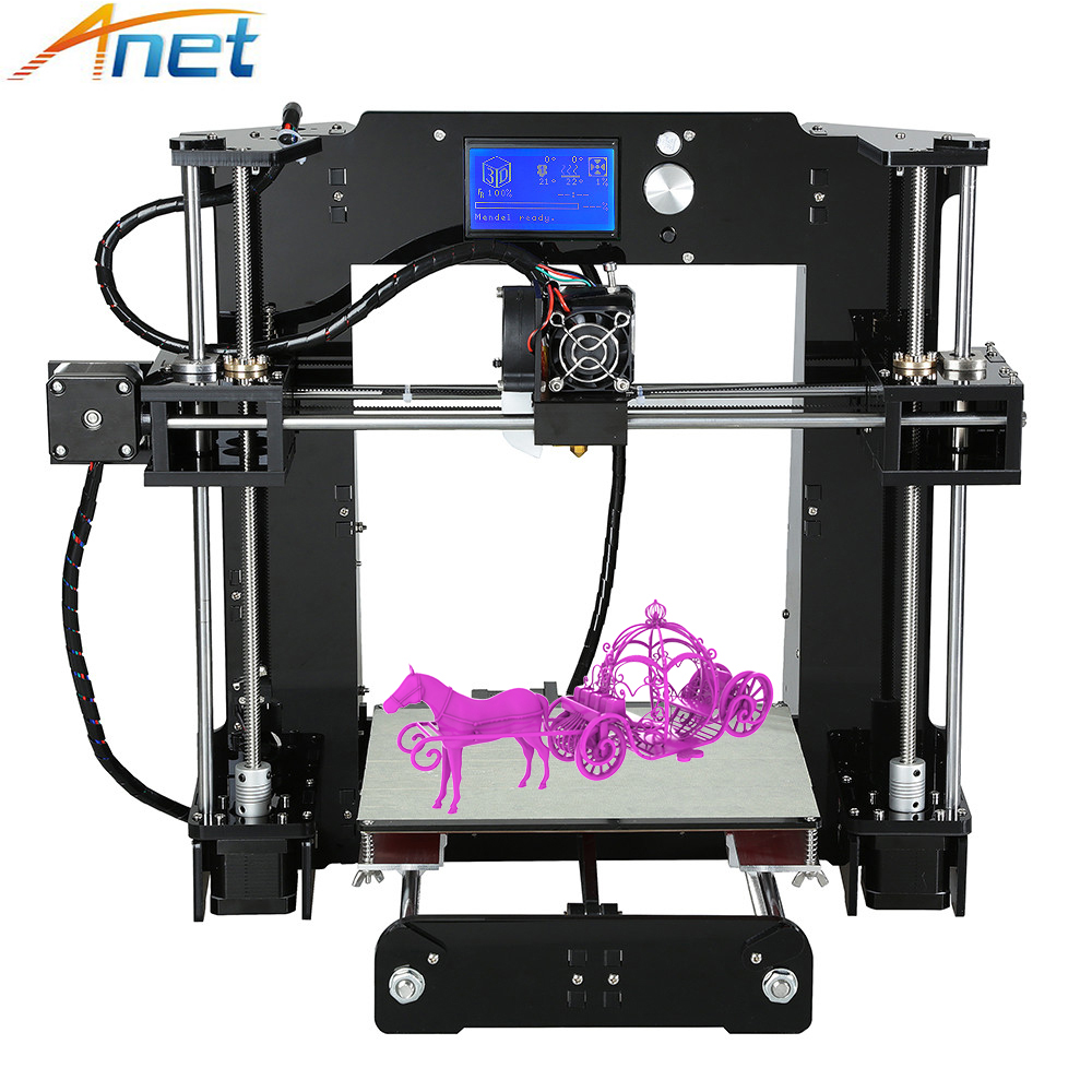 Anet A6 3D Printer Desktop Unit High Precision Full Acrylic Reprap Prusa i3 DIY3D Printer Kit 16GB SD Card LCD Large Size anet upgraded a6 3d printer prusa i3 precision with high quality roll filament 16gb sd card lcd screen excellent value for money