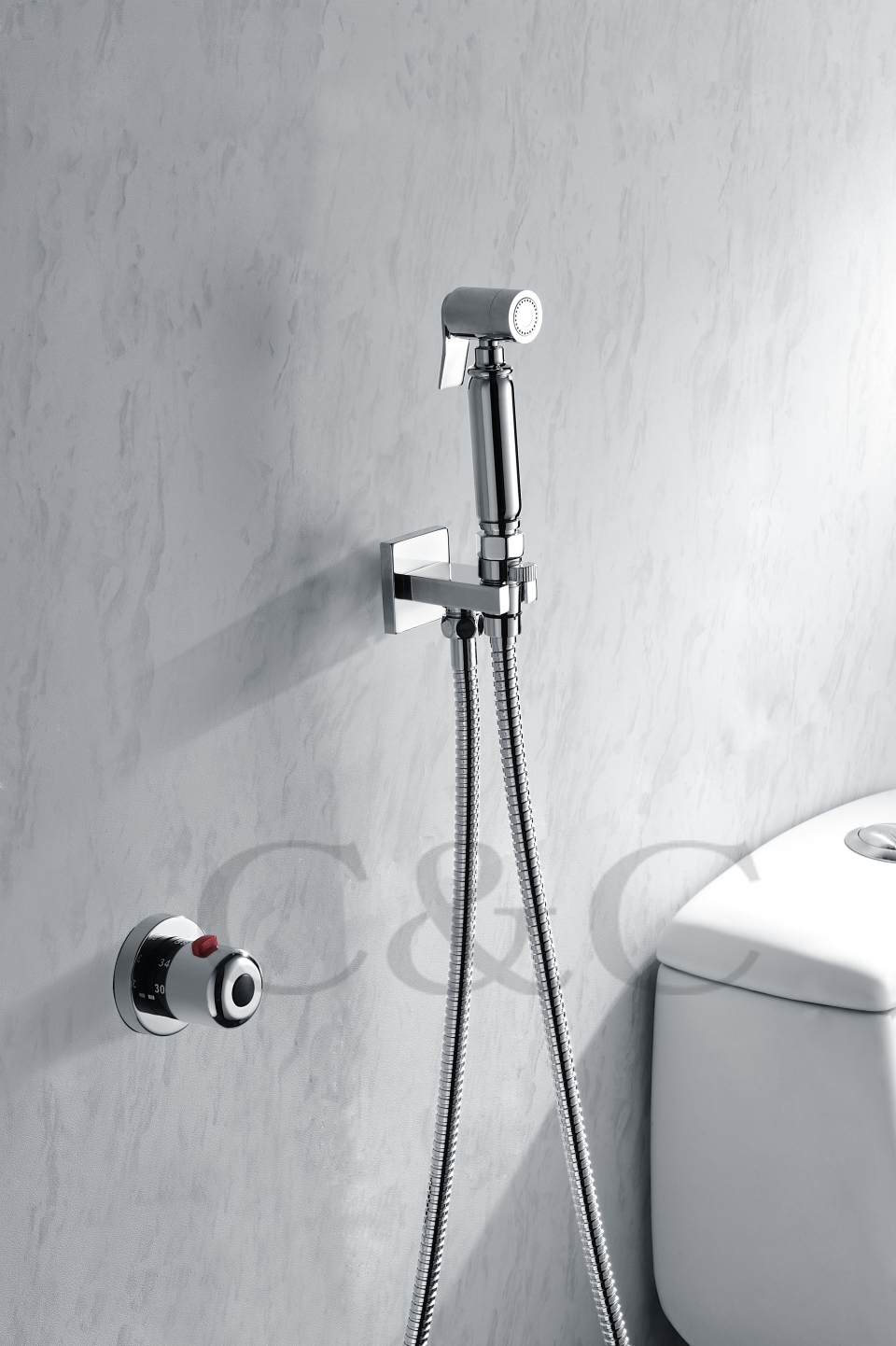 Wall Mounted Handheld Shattaf Bidet Toilet Spray Shower 150 cm Stainless Steel Hose With Thermostatic Faucet Valve A2007D