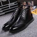 Моды Натуральная Кожа Мужские Ботинки мужские на шнурках Почтовый Акцентом Обувь Баллок Carve мужская Обувь Pidepie Случайные Мартин сапоги Лодыжки Botas