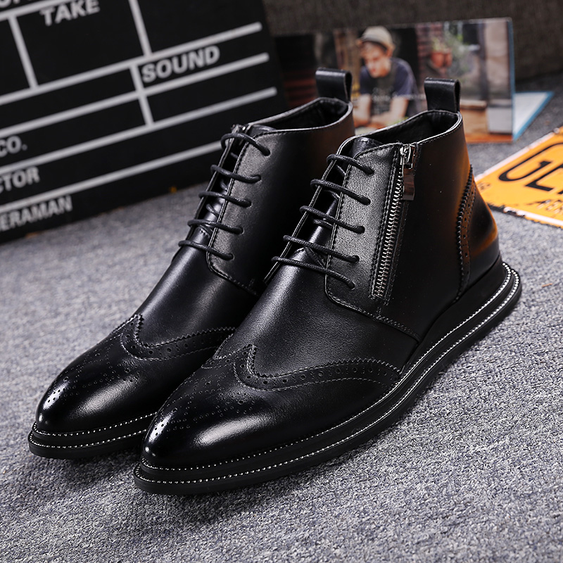 ФОТО Fashion Genuine Leather Men Boots Men's Lace-up Zip Brogue Shoes Bullock Carve men Shoes Pidepie Casual Martin Boots Ankle Botas