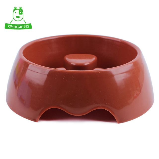KIMHOME 4 Color Cute Pet Feeding Bowl for Dog Cats Plastic Paw Print Slow Feeder Bowl S M