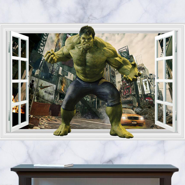 Charming Kids Bedroom Hulk Wall Stickers Removable Baby Room Cute Cartoon Wall  Decals Home Decor Wallpaper