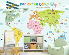 Custom 3D Cartoon World Map Photo Mural Wallpaper Bedroom Living Room Children Room Background Wall Painting custom cars painting a large mural 3d wallpaper cartoon city theme children s room bedroom 3d wallpaper backdrop videos