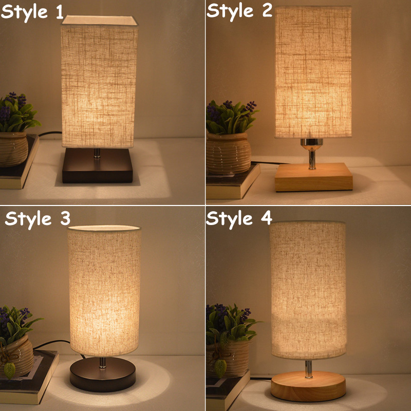 EU / US Plug AC E27 Modern Wood Linen Bedside Table Lamp Student Reading Night Light For Bedroom Living Room Study Decor
