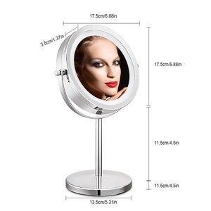 Image 4 - 10X مكبرة مرآة تجميل مع لمبة ليد مصباح ليد 360 درجة دوران مزدوج الوجهين سطح مكتب معدني التجميل الغرور لهدية عيد الحب